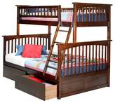 Atlantic Columbia Twin Over Full Bunk Bed with Under Bed Drawers Antique Walnut Furniture