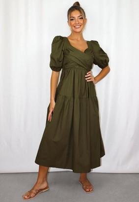 Missguided Khaki Poplin Wrap Tiered Midi Dress