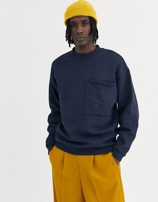 Asos Design DESIGN oversized sweatshirt with large chest pocket-Navy