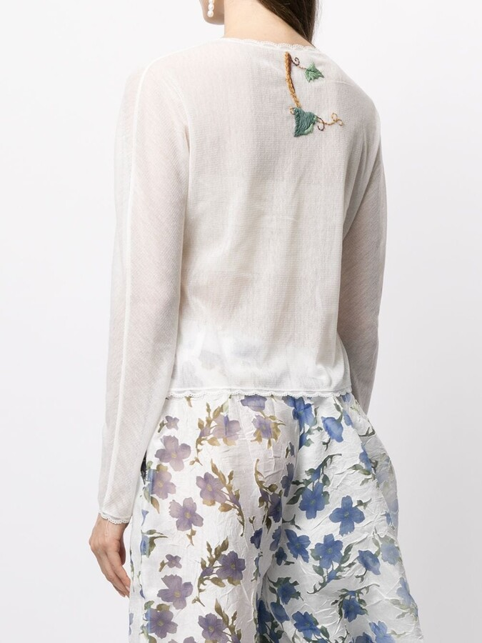Thumbnail for your product : yuhan wang Floral Embroidered Sheer Blouse