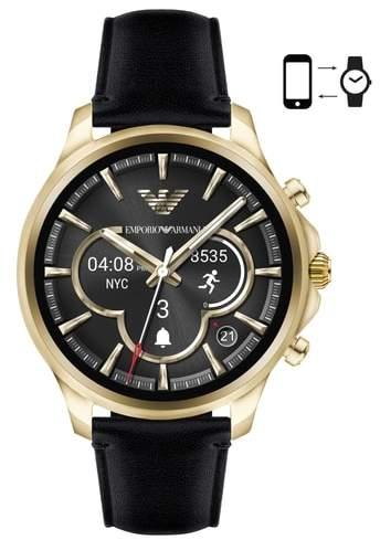 Emporio Armani Touchscreen Leather Strap Smartwatch, 46mm