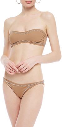 Norma Kamali Sunglass Studded Bandeau Bikini Top