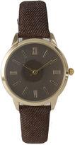 OLIVIA PRATT Olivia Pratt Womens Gold-Tone Brown Denim Faux Leather Strap Watch 14086