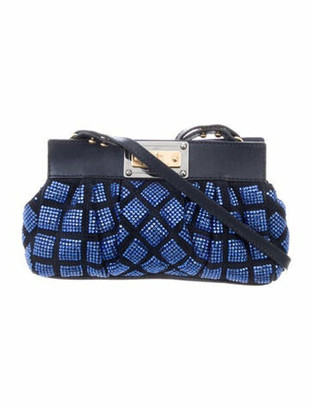 Marc Jacobs Crystal-Embellished Suede Shoulder Bag Blue
