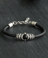 Nautilus Silver-Plated & Leather Embellished Wristband