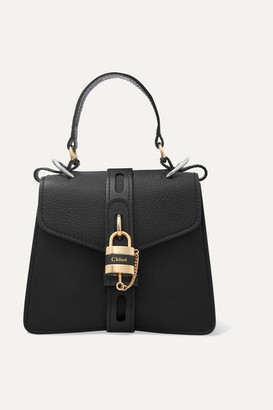 Chloé Aby Small Textured And Smooth Leather Tote - Black