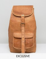 Reclaimed Vintage Inspired Leather Backpack In Tan