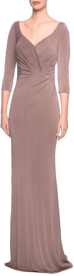 La Femme Ruched Jersey Column Gown