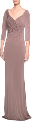 La Femme Ruched Jersey Evening Dress