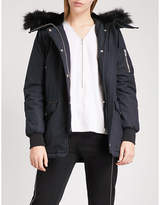 The Kooples Faux-fur hood stretch-cotton and leather parka coat