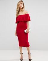 Club L Bardot Midi Dress With Frill Overlay