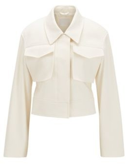 HUGO BOSS Relaxed Fit Cropped Jacket In Stretch Cotton - White