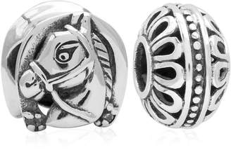 Rhona Sutton 4 Kids Children Horse Filigree Bead Charms - Set of 2 in Sterling Silver