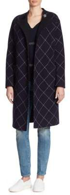 Armani Collezioni Double-Face Windowpane Wrap Coat