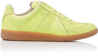 Maison Margiela Replica Glittered Faux-Leather Sneakers Size: 36