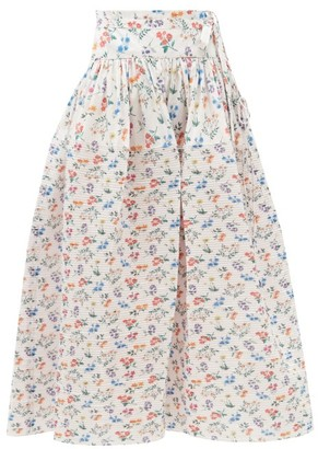 Horror Vacui Toga Floral-print Cotton Skirt - White Print