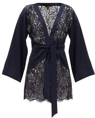 Coco de Mer Athene Satin And Chantilly-lace Robe - Womens - Navy