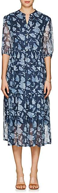 Raquel Allegra Women's Floral Silk Tiered Midi-Dress - Navy