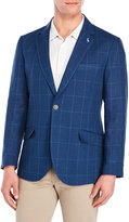 Tailorbyrd Navy Windowpane Linen Sport Coat