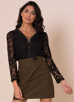 Missy Empire Sascha Black Lace Lace Up Top