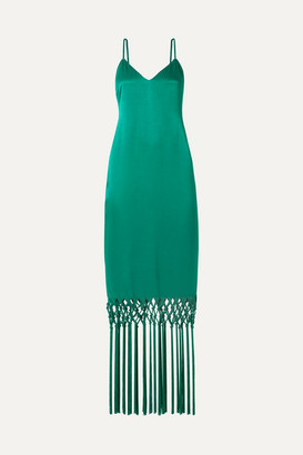 Rachel Zoe Chantelle Macrame-trimmed Satin Maxi Dress - Jade