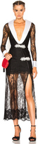 Alessandra Rich Chantilly Lace Robe Dress with Satin Lapels