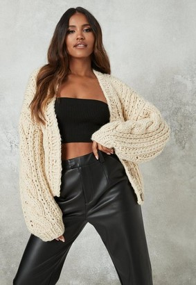 Missguided Premium Beige Chunky Hand Knit Cardigan