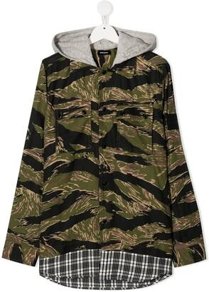 Diesel TEEN hooded mixed-print shirt