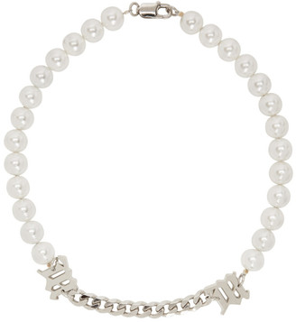Misbhv Off-White and Silver Pearl Necklace