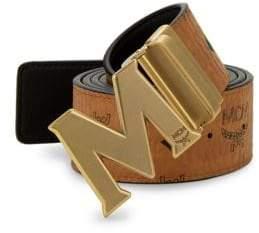 MCM Men's Reversible Antique Logo Belt - Cognac