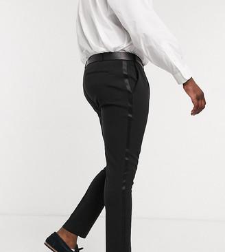 ASOS DESIGN Plus super skinny tuxedo suit pants in black
