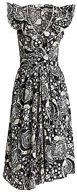 Etoile Isabel Marant Women's Coraline Printed Ruffle Midi Dress