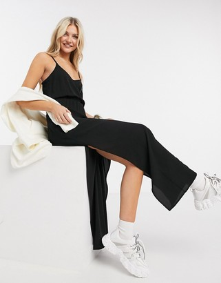 JDY strappy woven maxi dress with side split in black