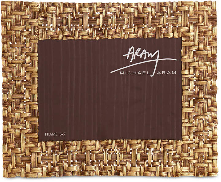 "Michael Aram Antique Gold-Tone 5"" x 7"" Palm Frame"