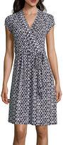 Liz Claiborne Cap-Sleeve Diamond-Geo Wrap Dress