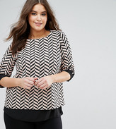 Koko Long Sleeve Double Layer Contrast Zig Zag Top