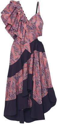 Loewe Asymmetric Cutout Jersey-paneled Printed Cotton-twill Midi Dress