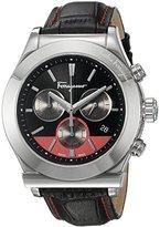 Salvatore Ferragamo Men's '1898' Swiss Quartz Stainless Steel and Leather Casual Watch, Color:Black (Model: FFM100016)