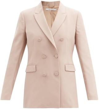 Another Tomorrow - Double-breasted Wool Grain De Poudre Jacket - Beige