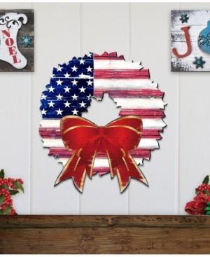 Designocracy American Flag Wreath Wooden Decor
