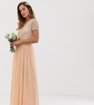 Maya Bridesmaid V neck maxi dress with delicate sequin in soft peach-Pink