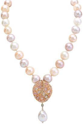Michael Aram Botanical Leaf 18K Rose Gold 8.90 Ct. Tw. Sapphire & 8Mm Pearl Necklace