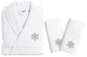 Linum Home Textiles Embroidered Luxury Hand Towels and Terry Bathrobe Set - Snow Flake Bedding