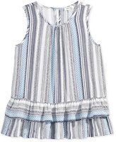 Monteau Stripe Peplum Ruffle Shirt, Big Girls (7-16)