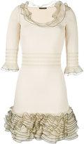 Alexander McQueen ruffled knit mini dress
