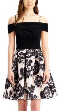 Morgan & Company Juniors' Off-The-Shoulder Floral Fit & Flare Dress