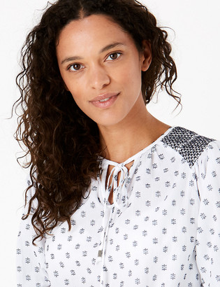 Marks and Spencer Pure Cotton Printed Tie Neck Blouse