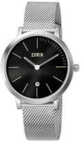 Edwin KENNY Men's Stainless Steel 3-Hand Date Watch with Stainless Steel Mesh Band and Dial