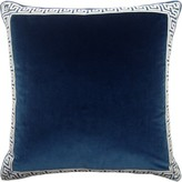 The Well Appointed House Velvet Navy Pillow with Denim Greek Key Tape