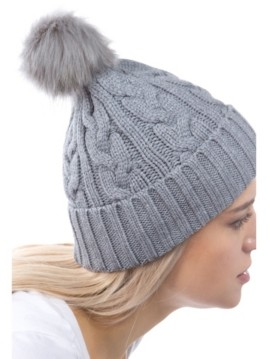 MARCUS ADLER Women's Cable Knit Cuff Faux Fur Pom Hat